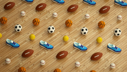 isometric sports fitness background made of soccer, football, tennis, baseball balls and colorful running sneakers. 3d render