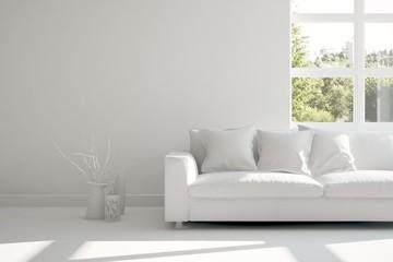 Inspiration of white room with sofa. Scandinavian interior design. 3D illustration
