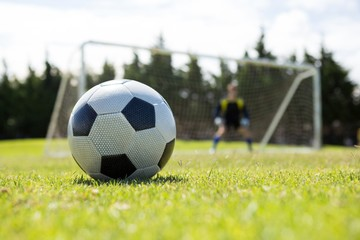 Soccer ball on field against goalkeeper
