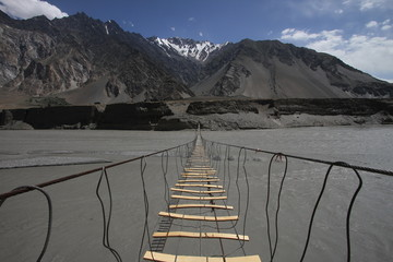 Suspension bridge in Northern Pakistan