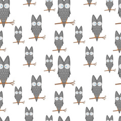 Seamless pattern of owls on a branch for kids stationery designs and clothing. cartoon bird. Obverse the paper. Background for notebook. isolated on a white background