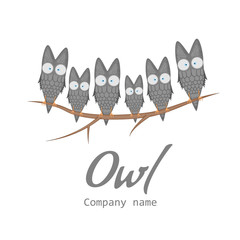 Templates for the company. The logo with the owl. Banner with cute cartoon birds. Template for text. Flyer, announcement, tag. Cute card.