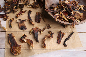 Dried and sliced edible mushrooms. Heap of natural dried sliced boletus mushrooms. Hand-picked in forest.