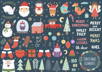 Vector set of cute Christmas elements: Santa, penguin, deer, bear, fox, owl, trees, snowman, bird, angel and more