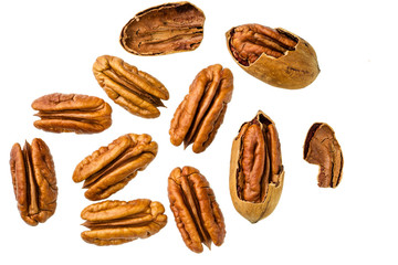 Lots of raw  pecan nuts,top view