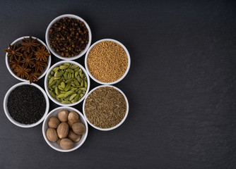 A variety of exotic spices, top view