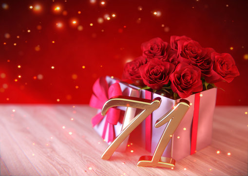 birthday concept with red roses in gift on wooden desk. seventy-first. 71st. 3D render