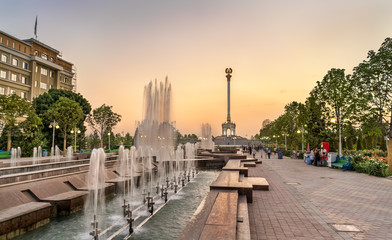 Fountain and Independence Monument in Dushanbe, the Capital of Tajikistan