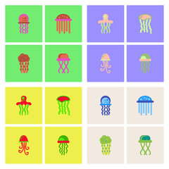 Jellyfish vector stock collection