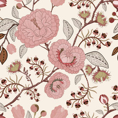 Fotobehang Botanisch Vector seamless pattern with stylized flowers and plants. Decorative style. Hand drawn floral wallpaper. Floral backdrop for textile, web