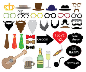 Stag party (wedding) set, vector, photo booth props