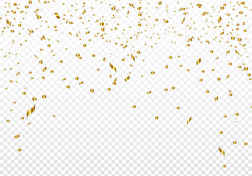 Celebration background template with gold confetti. Vector illustration.
