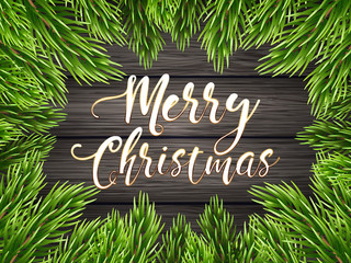 Painted wooden background with a typography sign and Christmas fir tree. Vector Illustration.