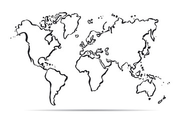 Drawing map of The World. Vector Illustration