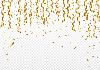 Celebration background template with confetti and ribbons on transparent background. Vector illustration.