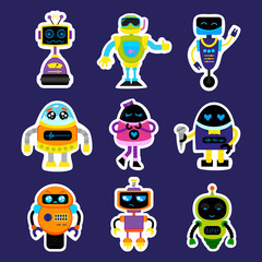 Fashion patch badges with robot, robotics android, toy robot with cute eyes Very large set of girlish and boyish stickers, patches in cartoon isolated.Trendy print for backpacks, things,clothes