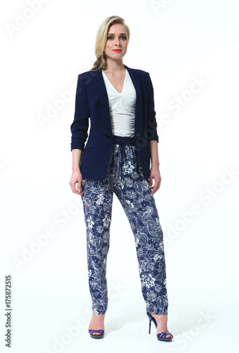 e0741b8f21e blond business woman in official formal casual jacket and print floral  trousers clothes stiletto heels full body portrait isolated on white