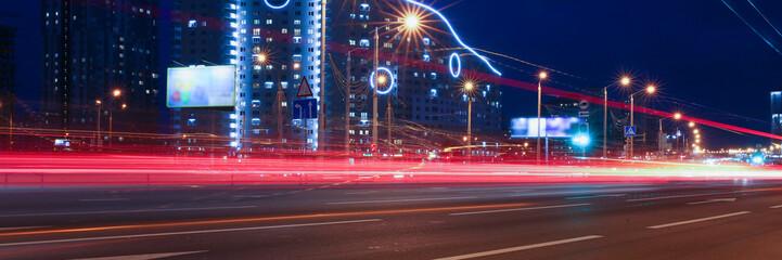 Landscape of the city of Minsk in Belarus blurred lights of car headlamps