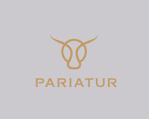 Bull taurus vector logo. Linear cow steak creative logotype