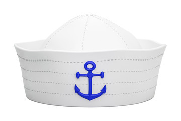 Navy sailor hat with anchor, 3D rendering