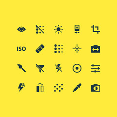Picture Icons Set. Collection Of Round, Center Focus, Setting And Other Elements. Also Includes Symbols Such As Light, Dartboard, Circle.