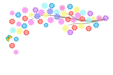 Bright children's tree of flowers and butterflies on a white background