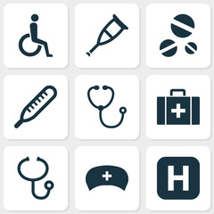 Drug Icons Set. Collection Of Handicapped, Chest, Review Elements. Also Includes Symbols Such As Healthy, Pill, Cure.