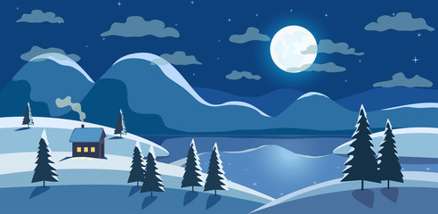 Winter nature landscape. Mountain river in night snowy valley. Rural house in snow. Frozen lake view, snowy hills in full moon. Countryside frost scene background. Cartoon outdoors vector Illustration