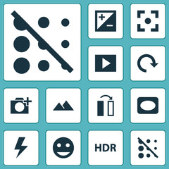 Image Icons Set. Collection Of Filtration, Multimedia, Photographing And Other Elements. Also Includes Symbols Such As Blur, Frame, Lightning.