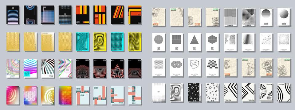 Set of trendy various geometric cover brochure