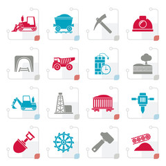 Stylized Mining and quarrying industry icons - vector icon set