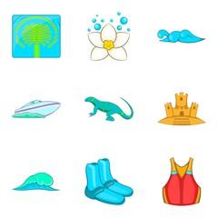 Seawater icons set, cartoon style