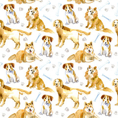 Seamless pattern of a dog, paw and bone.Labrador,Jack Russell Terrier and husky.Domestic pet.Watercolor hand drawn illustration.White background.