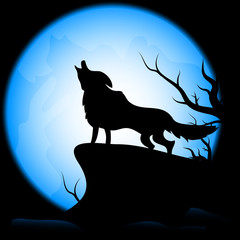 Wolf on the moon  background.vector design for halloween day.