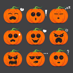 Pumpkin face emotion set  vector design for Halloween day.