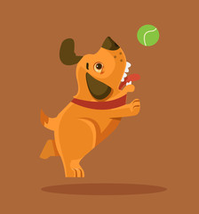 Happy smiling puppy dog character playing with ball. Vector flat cartoon illustration