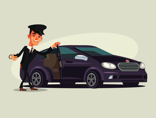 Happy smiling driver man character invite in taxi car premium luxury class. Vector flat cartoon illustration