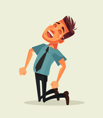 Unhappy sad office worker businessman character crying. Vector flat cartoon illustration