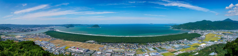 佐賀県、唐津市、虹の松原のパノラマ写真