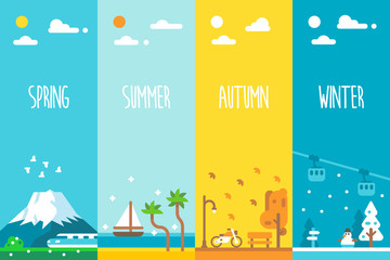 Flat design 4 seasons background