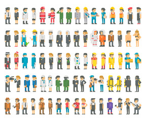 Flat design many professions set illustration vector