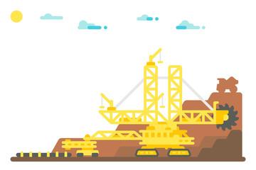 Flat design bucket wheel excavator mining background