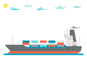 Flat design cargo ship background