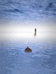 Man walks on water under cloudy sky