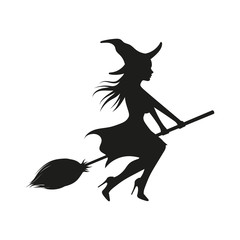 Witch on broom. Vector. Isolated.
