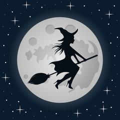 Witch on flying broom. Moon background. Vector. Isolated.