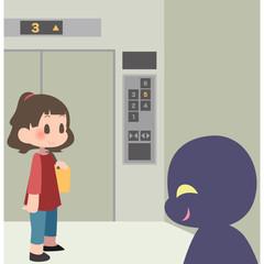 エレベーターに乗る女性と狙う不審者