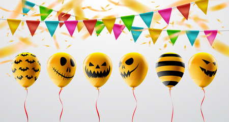 Happy Halloween decoration and party concept with Scary Air Balloons,Bunting Triangle Papers Flags and Confetti flying for Halloween Day.Vector illustration EPS 10