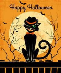 Vintage style Halloween card with stylish back cat and full moon. Vector illustration.