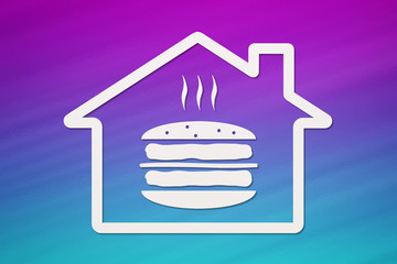 House with burger inside, fastfood concept. Abstract food conceptual image